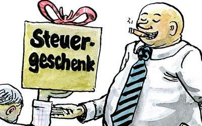 Cartoon Steuergeschenk