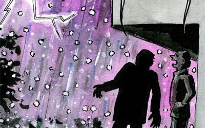 Cartoon Unwetter mit Hagel
