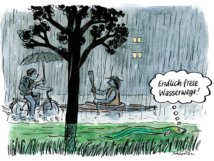 Cartoon: Endlich freie Wasserwege!