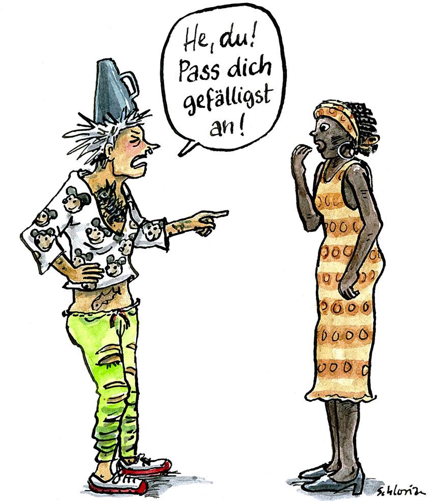 Cartoon: Pass dich gefälligst an!