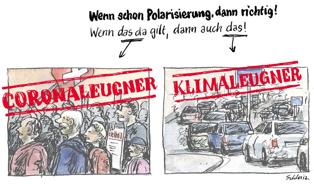 Cartoon Polarisierung